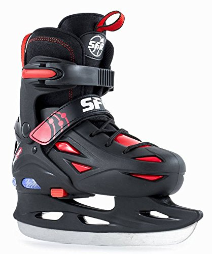 SFR Ice Skates Eclipse Light Up verstellbare Schlittschuhe schwarz Kinder black-red, 35.5 - 39.5