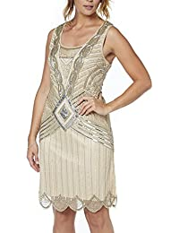 Ladies Frock and Frill Plus Size Gatsby Beaded Sequin 1920's Flapper Cocktail Gold Dress In Size 24-28