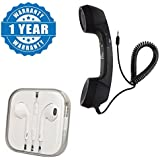 Drumstone Universal Classic Coco Retro Telephone Style Phone 3.5mm Handset with Pickup - Hangup Button With Earpod with Microphone Compatible with Xiaomi, Lenovo, Apple, Samsung, Sony, Oppo, Gionee, Vivo Smartphones (One Year Warranty)