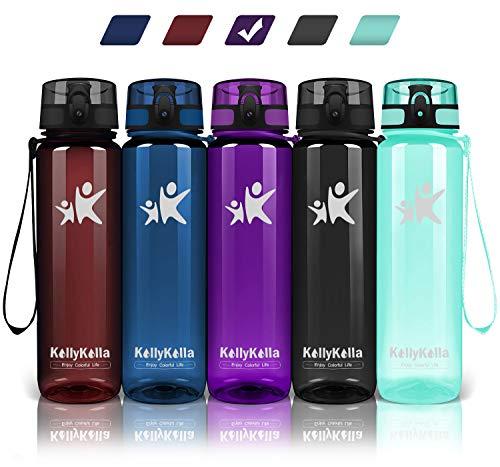 KollyKolla Trinkflasche - BPA-frei Auslaufsicher Sport Wasserflasche, 500ml Tritan Sportflasche Kohlensäure Geeignet Kunststoff mit Filter für Kinder, Schule, Baby, Fahrrad, Gym, Büro, Glossy Lila