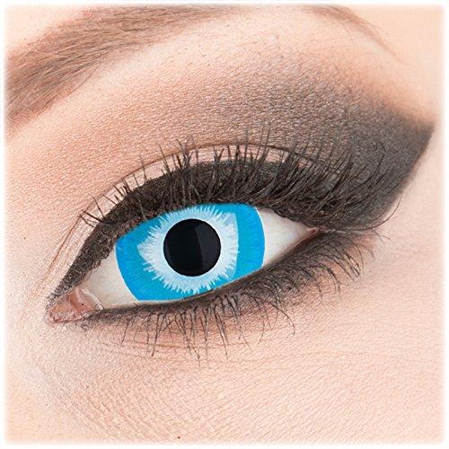 Farbige blaue Crazy Fun Mini Sclera 17 mm Kontaktlinsen 1 Paar 'Blue Elf' mit Behälter - Topqualität von 'Evil Lens' zu Fasching Karneval Halloween ohne Stärke