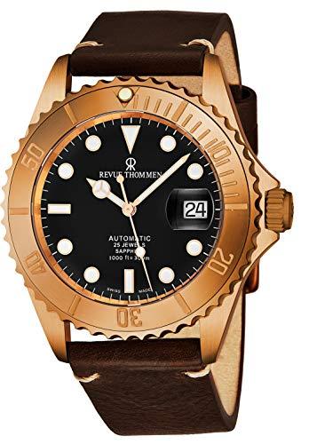 Revue Thommen Diver XL Homme 42mm Bracelet Cuir Automatique Montre 17571.2599