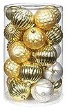 25 Stk. PVC Ornamentkugeln 8cm ( gold - weiß ) // Kunststoff bruchfest Dekokugeln Weihnachtskugeln Baumkugeln Baumschmuck Set Christbaumschmuck Ornament 80mm