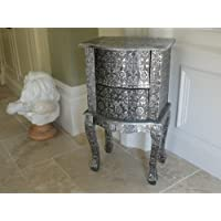 ** Full Range of Matching Furniture is Available** D3081 Distressed Antique Moroccan Style Black Silver Grey Bedside Side End Table with Drawers