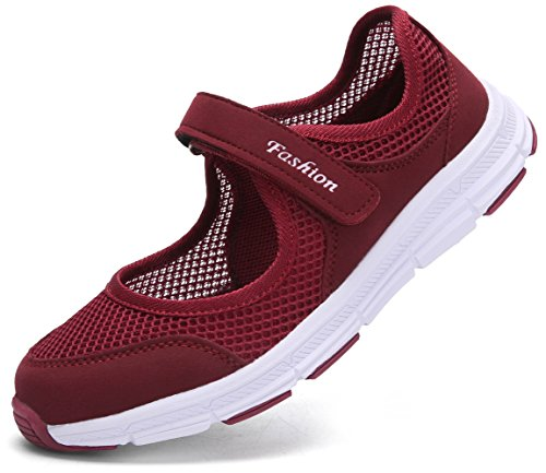 Pastaza Outdoor Fitnessschuhe Damen mit Klettverschluss Leicht Weich Flache Halbschuhe Mesh Atmungsaktive Casual Walking Schuhe,Weinrot - 36 EU
