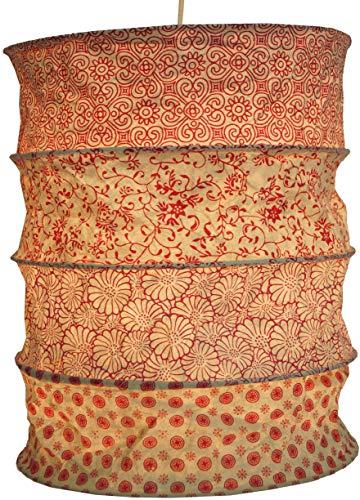Papier Lampenschirme (Guru-Shop Runde Papier Hängelampe, Lokta Papierlampenschirm Kailash, Handgeschöpftes Papier - Rot/orange, Lokta-Papier, 35x28x28 cm, Handgemachte Deckenleuchte)