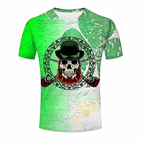 Printed Pirate Skull with Tobacco Pipe T-shirt for Mens