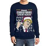 Hässlicher Weihnachtspullover Trump Make Christmas Great Again Herren Sweatshirt Large Marineblau