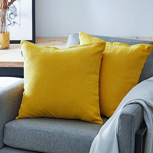 Topfinel juego 2 Hogar Algodón Lino Decorativa Almohadas Fundas de Color sólido para Sala de Estar sofás Amarillo 40x40cm