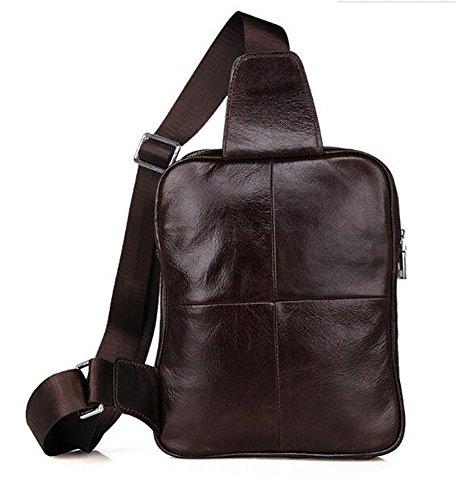 MeiliYH Borse casuali degli uomini di cuoio genuino di sacchetti di cuoio di alta qualità marrone_scuro