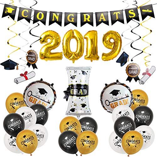 SUPVOX 2019 Graduate Dekorationen Folienballon Banner Girlanden für Abschlussfeier Lieferungen