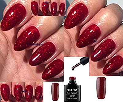 Bluesky KS4010 Red Flame Bright Red Glitter Nail Gel Polish UV LED Soak Off 10ml PLUS 2 Homebeautyforyou Shine Wipes
