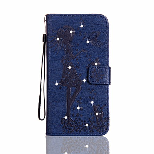 Custodia Wiko Lenny 3, Cover Wiko Lenny 3, Wiko Lenny 3 Custodia Cover, JAWSEU Libro Disegno PU Leather Wallet [Shock-Absorption] Pelle Portafoglio Custodia per Wiko Lenny 3 Cover Goffratura Arts Fior Ragazza, Blu Scuro