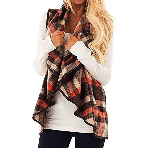 UFODB Damen Weste Frau Weste Cardigan Gitter Streifen Revers Ärmellos Weste T-Shirt Loose Outwear Mode Outdoor Mantel Bluse Oberteile Shirt Top