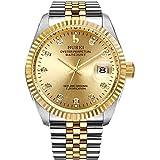 BUREI Orologio da Polso al Automatico, Uomo, due toni vestito di acciaio inossidabile placcato dall'oro (disco combinatore d'oro)