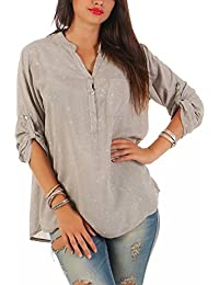 ZARMEXX Viskosebluse fina camisa de manga larga camisa de Fisher regular de ajuste ligero de manga larga blusa…