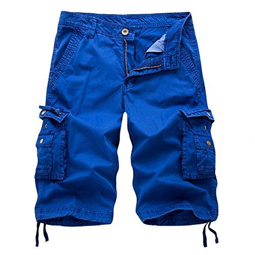 Blau Karierte Cargo-shorts (AYG Herren Cargo kurzs Bermudas Baumwolle kurzs Freizeit Sport 30-38, A082 blau, W30(DE 44/XS)/Taille:76-78cm)
