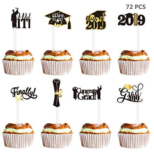 BESTOYARD 72 STÜCKE Graduation Cake Topper 2019 Congrats Grad Cake Topper Picks Schwarz und Gold Abschluss Party liefert für High School, College 2019 Graduation Dekorationen