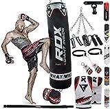RDX Boxsack Gefüllt Set Kick Boxing MMA Schwere Trainingshandschuhe Stanzen Handschuhe Hängen Kette Deckenhaken Muay Thai 13 STÜCK Kampfkunst 4FT 5FT