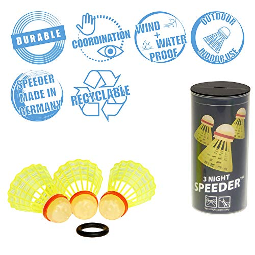 Speedminton NIGHT Speeder - 3er Pack leuchtende Speed Badminton/Crossminton Bälle inkl. Windring (Outdoor Night Games)