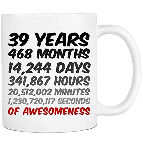 Birthday or, 39 Years of Awesomeness Coffee Mug for Mum, Dad, Husband or Wife, 11oz Ceramic Coffee Mug, Unique Gift ()