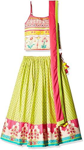 Biba Girls' Ghagra Choli (KW1814_Lime Green and Off White_11)