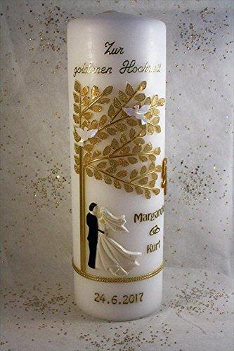 Kerze goldene Hochzeit mit Namen & Datum GH-24