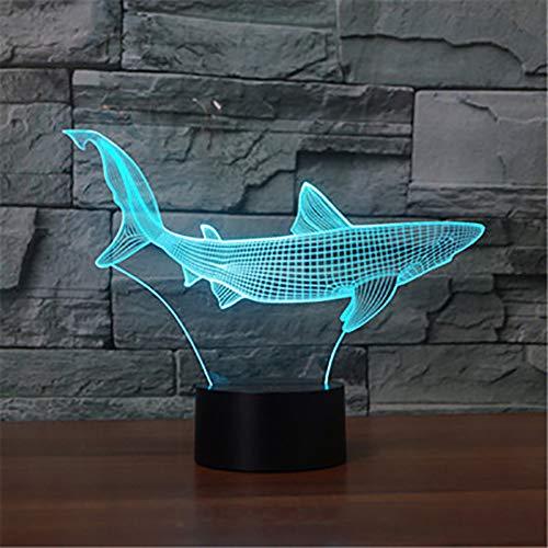 3D Cooler Hai Lampe optische Illusion Nachtlicht, 7 Farbwechsel Touch Switch Tisch Schreibtisch Dekoration Lampen perfekte Weihnachtsgeschenk mit Acryl Flat ABS Base USB Spielzeug (Cooler Schreibtisch Spielzeug)