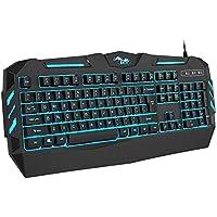 BAKTH Tastiera da Gioco con Filo, 7 Colori Luce LED Retroilluminato USB Gaming Tastiera per Videogioco PC Windows Mac, Paragonabile a Una Tastiera Meccanica, Tastiera Americana QWERTY