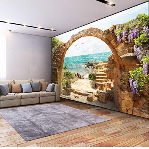 Fototapete Garten Stein Bögen Meerblick 3D Foto Für Wohnzimmer Sofa Schlafzimmer Hintergrund Große Wandbilder-(W)430x(H)300cm Silk Cloth -