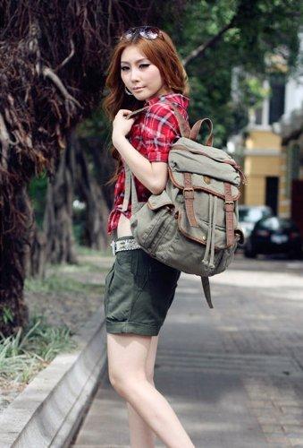 multi-funzione borsa zaino custodia tela forte a spalla a tracolla a zainetto scuola trekking spiaggia per uomo donna molto bello e alla moda sku 01 (Verde) Verde