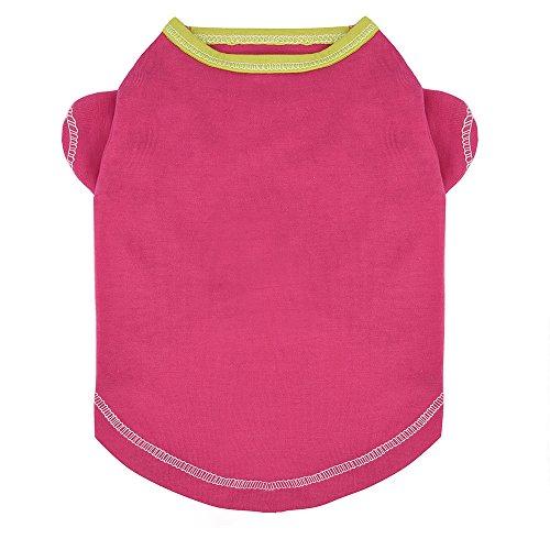 Smniao Sommer Haustier Hund Kleidung Baumwolle Pure Farbe Kleine Hund T-Shirt Weste Kostüme Kleidung für Welpen Katze Chihuahua(M, Heißes Rosa)