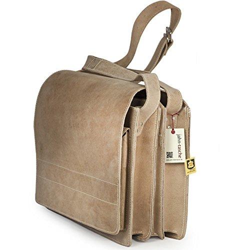 Große Aktentasche / Lehrertasche Größe XL aus Büffel-Leder, für Damen und Herren, Grau, Jahn-Tasche 676 Beige