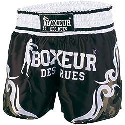 Lucha del boxeador Des Rues Activewear pantalones cortos Kick-tailandés con símbolos tribales, camuflaje, L