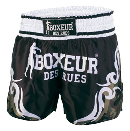 Lucha del Boxeador Des Rues Activewear Pantalones Cortos Kick-tailandés con símbolos Tribales, Camuflaje, S