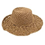 AiSi Damen Eleganter Sonnenhut, Sommer Strohhut, Faltbarer Strandhut, Strand Sommerhut, Damenhut mit Sonnenschutz breite Krempe Khaki
