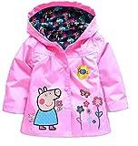 #2: Cartoon Peppa Pig Flower Baby Girls Kids Rain Coat Jacket Coat Hoodie Outwear 5-6T Pink