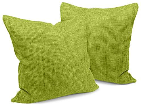 npluseins Kissenhüllen in Struktur-Optik - erhältlich in 23 modernen Farben und 3 verschiedenen Größen, Doppelpack Kissenhüllen 50 x 50 cm, hellgrün