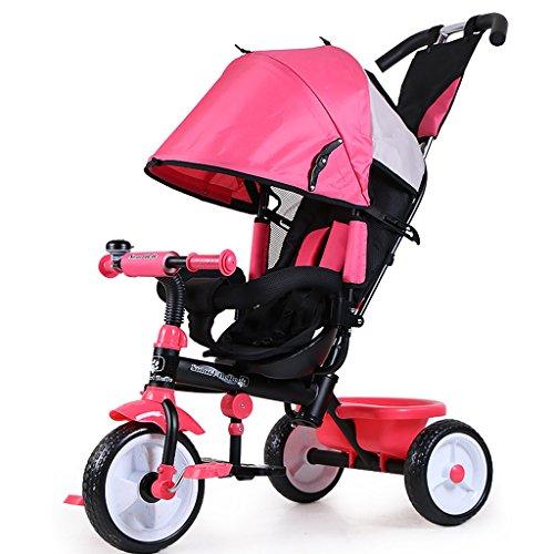 Bicicletta Per Bambini Bicicletta Pieghevole 1 6 Anni Passeggino Asta Di Spinta Estraibile Parasole Regolabile A Quattro Posti Color Pink
