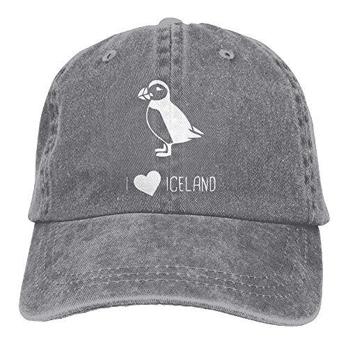 Wfispiy Unisex I Love Iceland Puffin Vintage Jeans Baseball Cap Classic Cotton Dad Hat Adjustable Plain Cap X1254