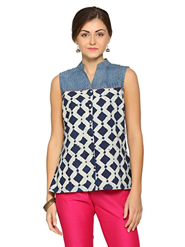 Abof Fusion Blue & White Printed Regular Fit Top