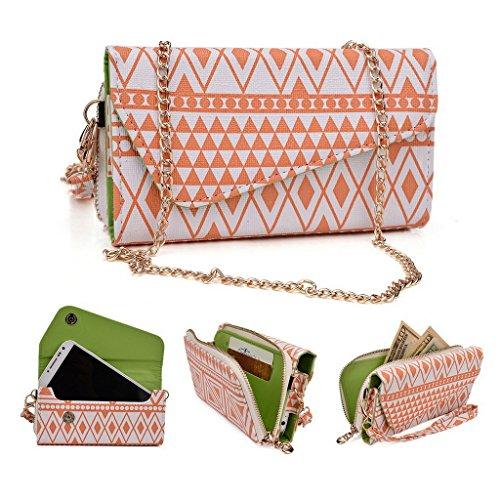 Kroo Pochette/étui style tribal urbain pour Samsung Galaxy K Zoom White and Orange White and Orange