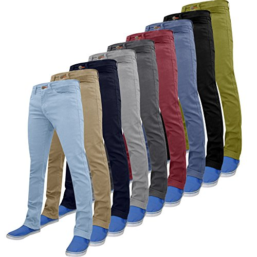 WestAce Mens Slim Fit Stretch Chino Trousers Spandex Pants Casual Jeans Soft Cotton Designer 28-40