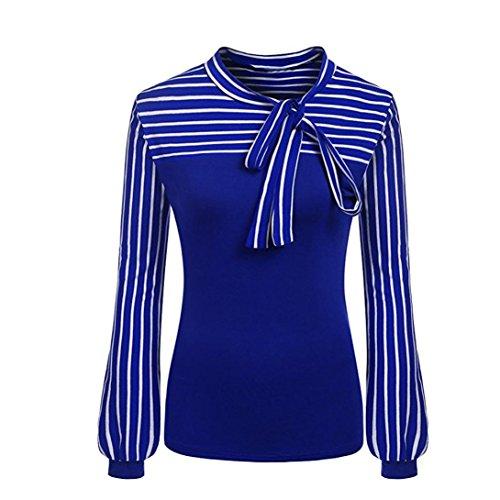 (MRULIC Damen Shirt Tie-Bow Neck Striped Langarm Spleiß Bluse Gestreift Damen Tragen (EU-42/CN-M, Blau))
