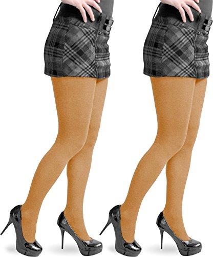 1-3 St?ck hochwertige warme Damen Feinstrick Strumpfhose aus Baumwolle mit Elasthan Farbe 2 x Tangerine Gr??e L/XL (Naht Elasthan)