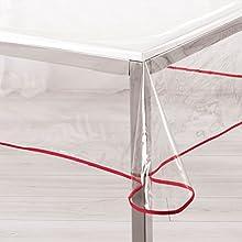 ligne décor nappe rectangle 140x240cm 15/100e garden/biais rouge