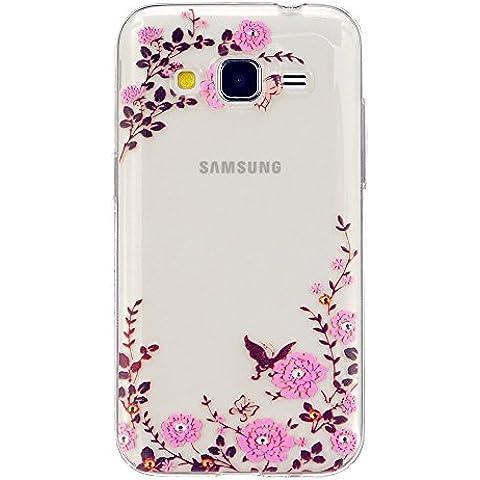 TKSHOP Custodia TPU Silicone sottile per Samsung Galaxy Core Prime SM-G360 Case Cover Materiale Morbida (Stampa Trapuntato Borsa)