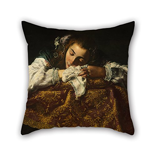 Preisvergleich Produktbild Slimmingpiggy Cushion Cases Of Oil Painting Domenico Fetti - Sleeping Girl,for Relatives,drawing Room,son,home,lounge,office 18 X 18 Inches / 45 By 45 Cm(two Sides)