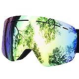 Greatever Skibrille, Snowboardbrillen Verspiegelt für Damen & Herren Anti-Fog-UV 400 Schutz Wind Resistance Motorschlitten Skifahren Skating Goggles (Gold)