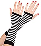 VARIOUS COLOURS Ladies Funky Opaque Stripe Fingerless ArmWarmers - Fancy Dress